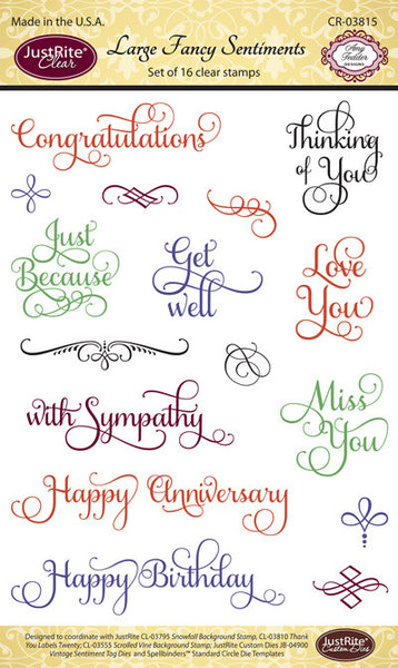 Large Fancy Sentiments Clear Stamps