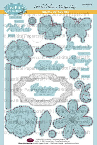 SVG Stitched Flowers Vintage Tags Digital Cut Download for CR-02018
