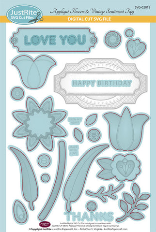 SVG Appliqu̩ Flowers & Vintage Sentiment Tags Digital Cut File Download for CR-02019