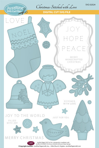 SVG Christmas Stitched with Love Vintage Labels Seven Digital Cut File Download for CR-02024