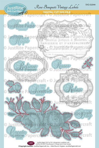 SVG Rose Bouquet Digital Cut File Download for CR-02044