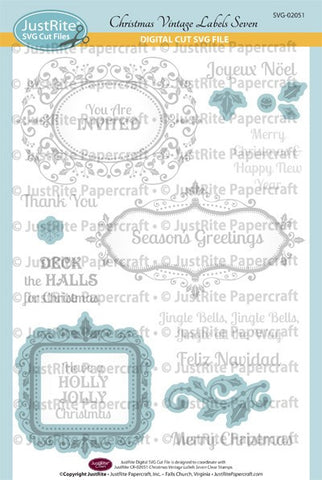 SVG Christmas Vintage Labels Seven Digital Cut File Download for CR-02051