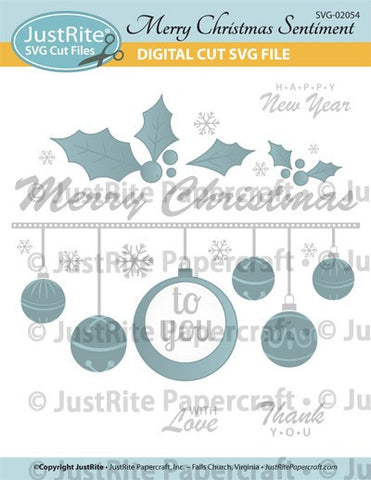 SVG Merry Christmas Sentiment Digital Cut File Download for CL-02054