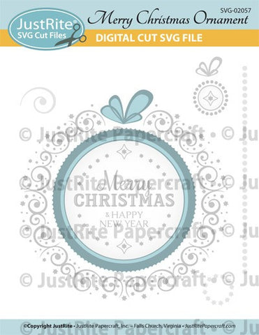 SVG Merry Christmas Ornament Digital Cut File Download for CL-02057