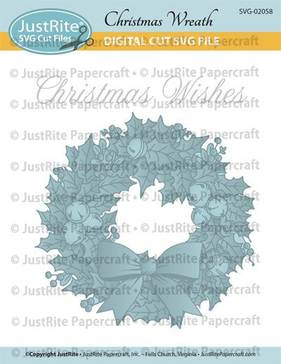 SVG Christmas Wreath Digital Cut File Download for CL-02058