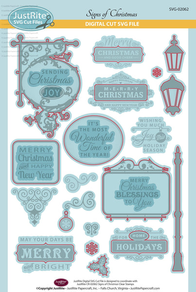 SVG Signs of Christmas Digital Cut File Download for CR-02062