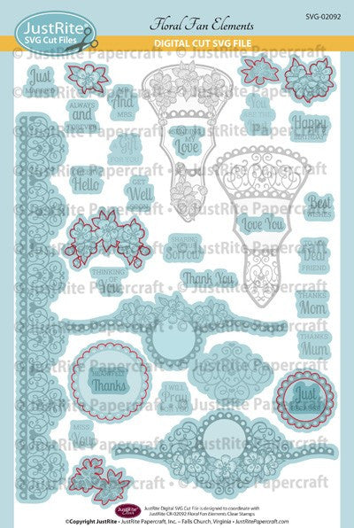 SVG Floral Fan Elements Digital Cut File Download for CR-02092