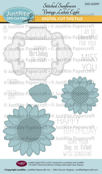 SVG Stitched Sunflowers Vintage Labels Eight Cut File Download for CR-02097