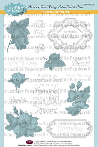 SVG Birthday Floral Vintage Labels Eight and Nine Digital Cut File Download for CR-02106