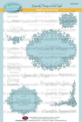 SVG Sympathy Vintage Labels Eight and Nine Digital Cut File Download for CR-02107