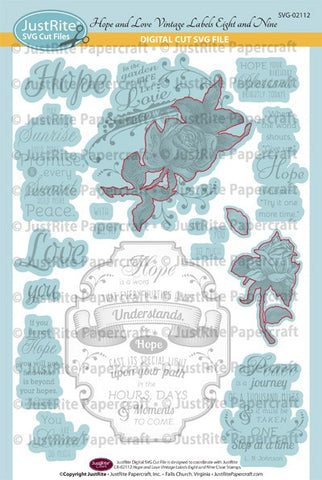 SVG Hope and Love Vintage Labels Eight and Nine Digital Cut File Download for CR-02112