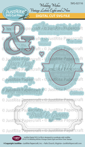 SVG Wedding Wishes Vintage Labels Eight and Nine Digital Cut File Download for CR-02116