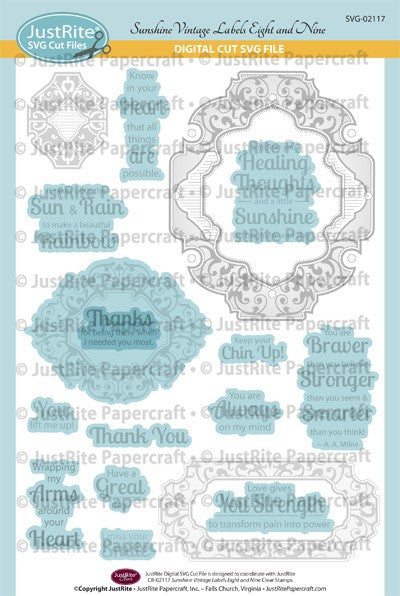 SVG Sunshine Vintage Labels Eight and Nine Digital Cut File Download for CR-02117