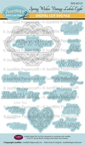 SVG Spring Wishes Vintage Labels Eight and Nine Digital Cut File Download for CR-02121