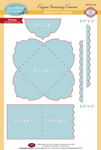 SVG Elegant Stationery Elements Cut File Digital Download