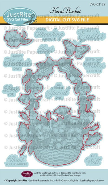 SVG Floral Basket Digital Cut File Download for CR-02129