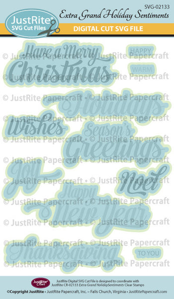SVG Extra Grand Holiday Sentiments Digital Cut File Download for CR-02133