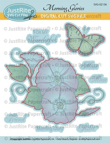 SVG Morning Glory Digital Cut File Download for CL-02136