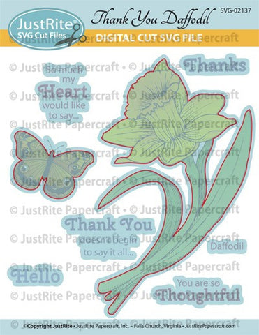 SVG Thank You Daffodil Digital Cut File Download for CL-02137