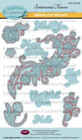 SVG Sentimental Flowers Digital Cut File Download for CR-02146
