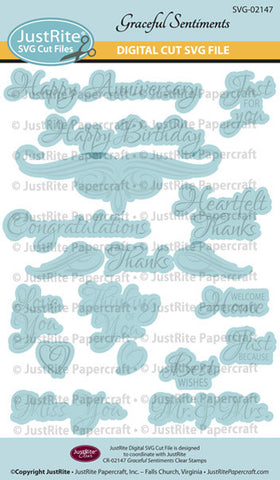 SVG Graceful Sentiments Digital Cut File Download for CR-02147