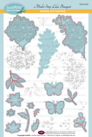 SVG Multi-Step Lilac Bouquet Digital Cut File Download for CR-02181