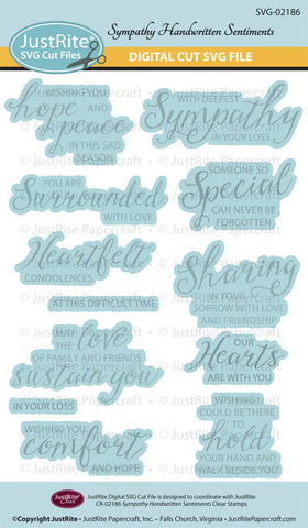SVG Sympathy Handwritten Sentiments Digital Cut File Download for CR-02186