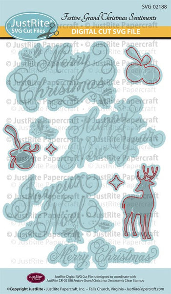 SVG Festive Grand Sentiments Digital Cut File Download for CR-02188