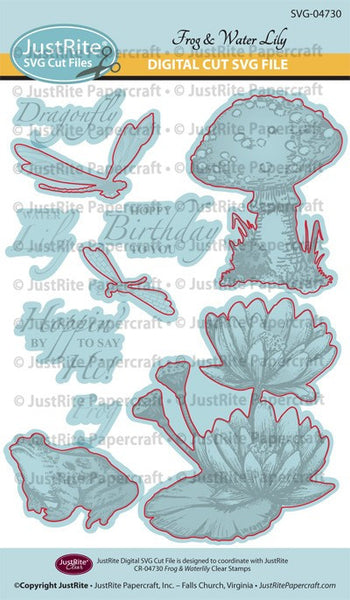 SVG Frog & Water Lily Digital Cut File Download for CR-04730