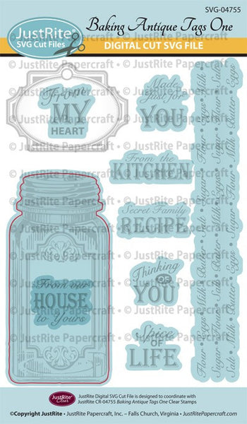 SVG Baking Antique Tags One Digital Cut File Download for CR-04755
