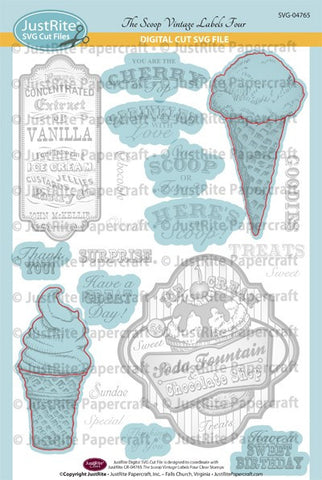 SVG The Scoop Vintage Labels Four Digital Cut File Download for CR-04765