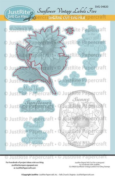 SVG Sunflowers Vintage Labels Five Digital Cut File Download for CL-04820