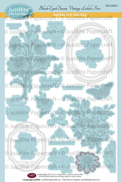 SVG Black Eyed Susan Vintage Labels Five Clear Stamps Digital Cut File Download for CR-04835