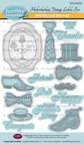 SVG Haberdashery Vintage Labels Five Digital Cut File Downloads for CR-04850
