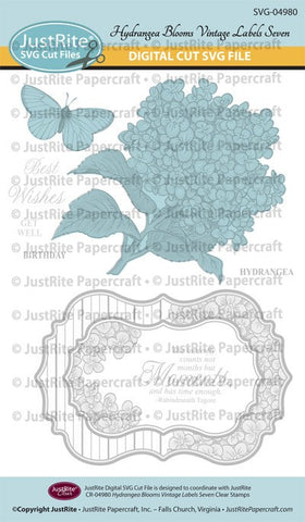 SVG Hydrangea Vintage Labels Seven Clear Stamps Digital Cut File Download for CR-04980