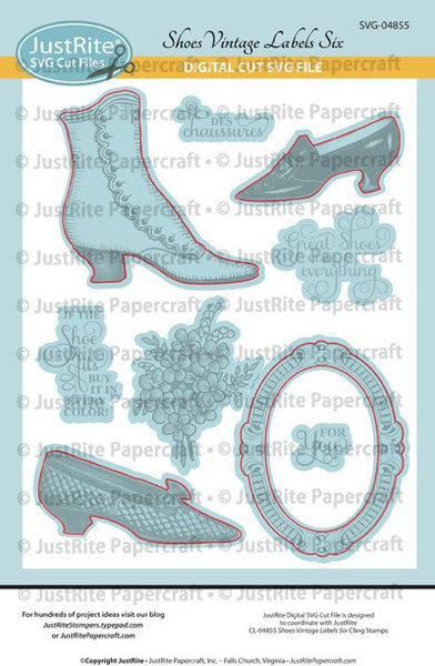 SVG Shoes Vintage Labels Six Digital Cut File for CL-04855