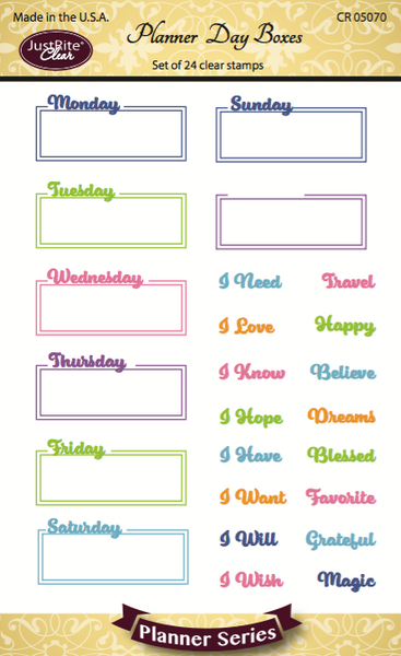Justrite Planner Day Boxes Clear Stamps