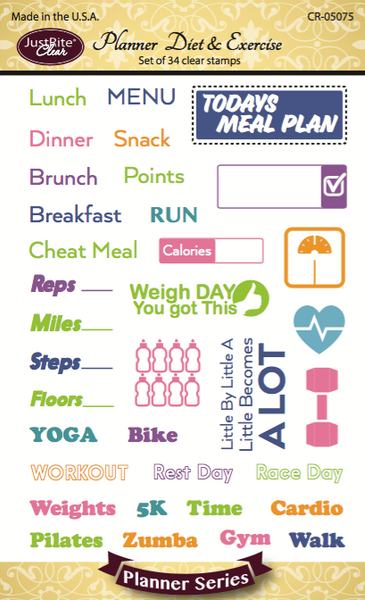 Justrite Planner Diet & Exercise Clear Stamps
