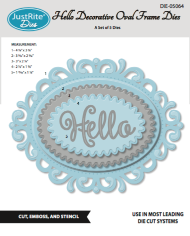 Justrite Hello Decorative Oval Frame Dies