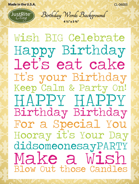 Justrite Birthday Words Cling Background Stamp