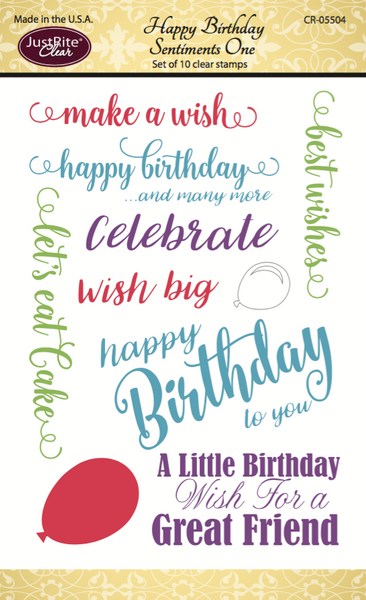 Justrite Happy Birthday Sentiments One Clear Stamps