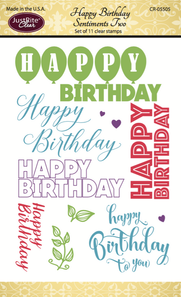Justrite Happy Birthday Sentiments Two Clear Stamps