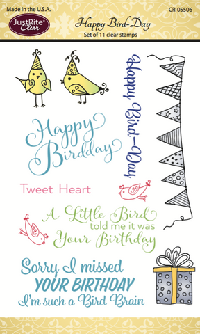 Justrite Happy Bird-Day Clear Stamps
