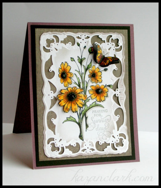 Black Eyed Susan Vintage Labels Five Clear Stamps