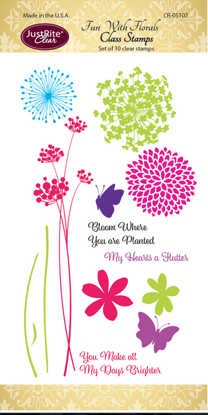 Justrite EXCLUSIVE Class Stamp Set FUN WITH FLORALS Clear Stamps