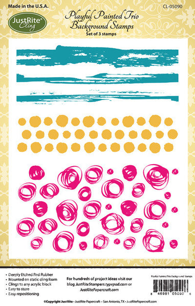 Justrite Playful Painted Trio Background Stamps