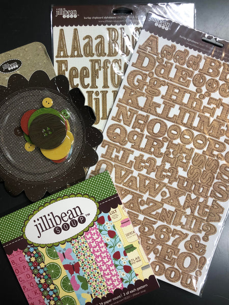 Jillibean Soup Embellishment and 6x6 paper pad LOT