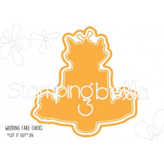 Stamping Bella CUT IT OUT Die Only WEDDING CAKE CHICKS