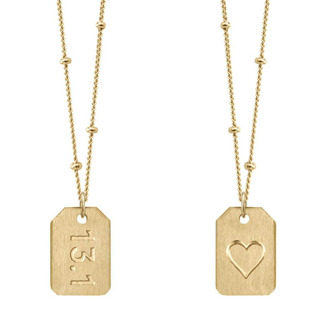 Chelsea Charles 13.1 gold Love Tag necklace
