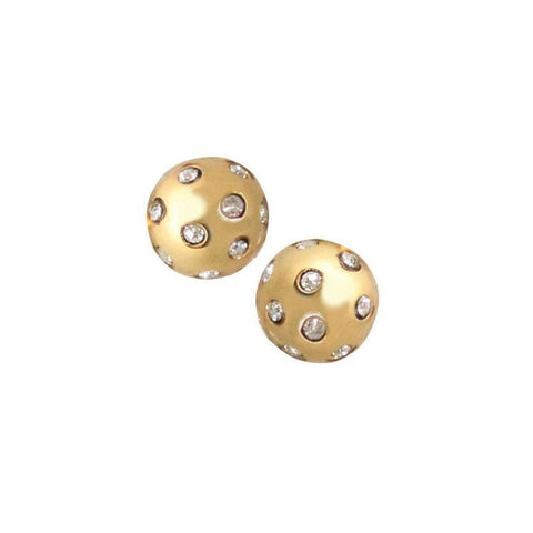 Gypsy Crystal Ball Studs - Gold
